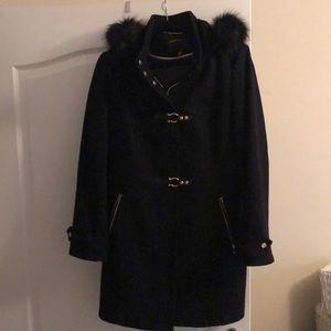 Black Wool coat with fur hood